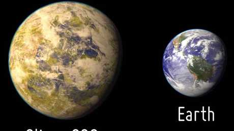 An artistic representation of Gliese 832c in comparison to Earth. Photo supplied by the Planetary Habitability Laboratory @ UPR Arecibo