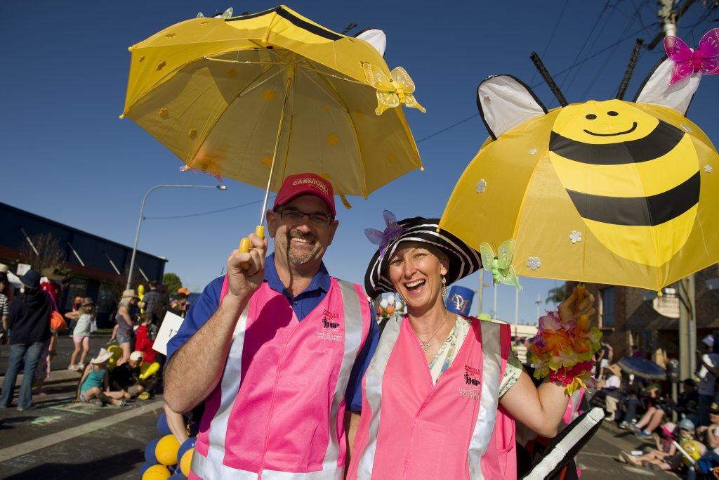 Colin Mackay and Madison Hebbard enjoy last year's parade.