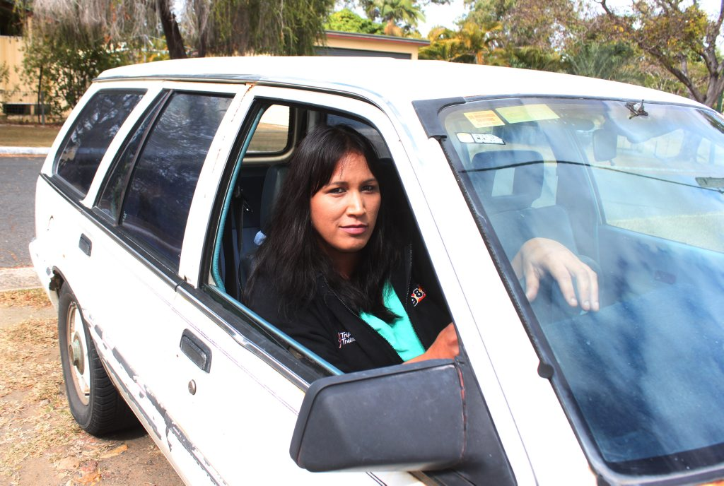Koongal resident Bobby-Lee McQuire gets ready to take off in a 20-year-old station wagon she's using. She spoke to The Morning Bulletin about Rockhampton's biggest traffic problem. Photo Austin King / The Morning Bulletin