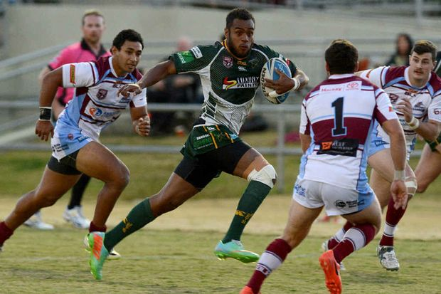 TRY TIME: Ipswich Jets back Nemani Valekapa heads for the tryline in last weekend's comprehensive Queensland Cup win over Mackay at the North Ipswich Reserve.