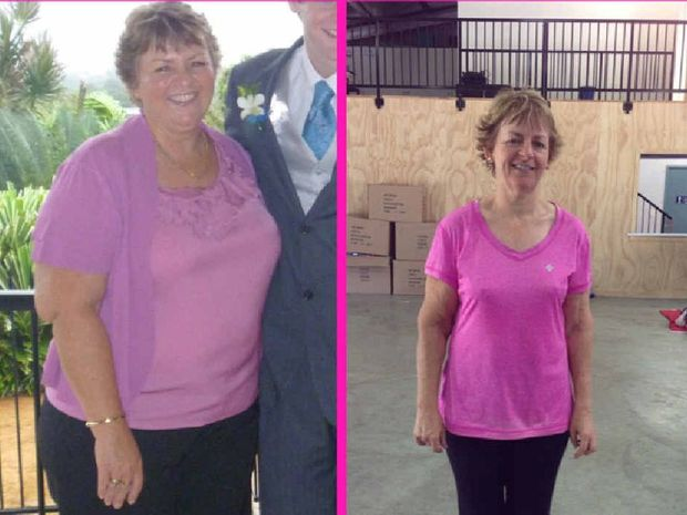 BEFORE AND AFTER: Rockhampton's Vicki Hartley when she was 110kg and after losing 46kg.