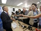 Japanese Keiji Fukuda (L), Assistant Director General and interim Health Security and Environment of the WHO, informs the media after an emergency meeting about the Ebola outbreak, at the WHO headquarters in Geneva, Switzerland, 08 August 2014. The Ebola outbreak in West Africa constitutes an Public Health Emergency of International Concern, the World Health Organization says.