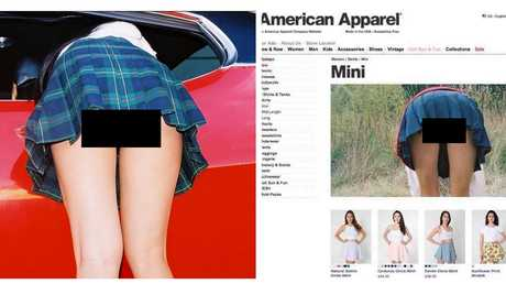 A censored image from American Apparel's 'Back To School' campaign