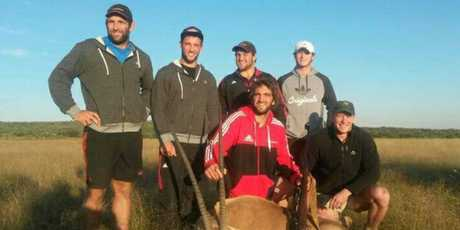 Crusaders rugby players, some of them All Blacks, are in the firing line after photos of them posing with dead big-game animals were condemned on Facebook.