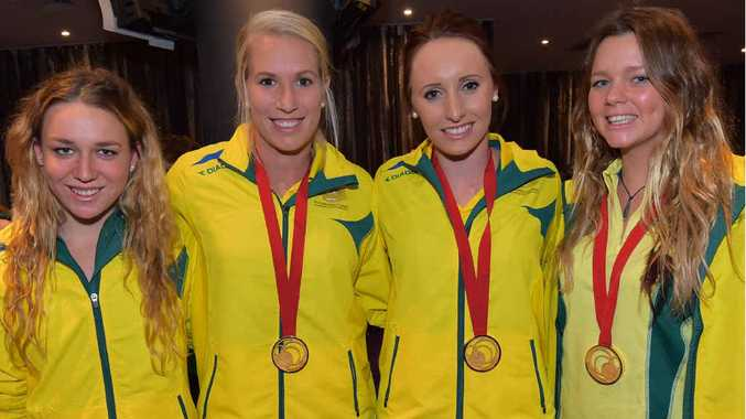 CHAMPIONS ALL: The Sunshine Coast welcomes home Commonwealth Games athletes (from left) Tessa Wallace, Jodie Kenny, Taylor Mckeown and Remy Fairweather at a Maroochy RSL function last night.