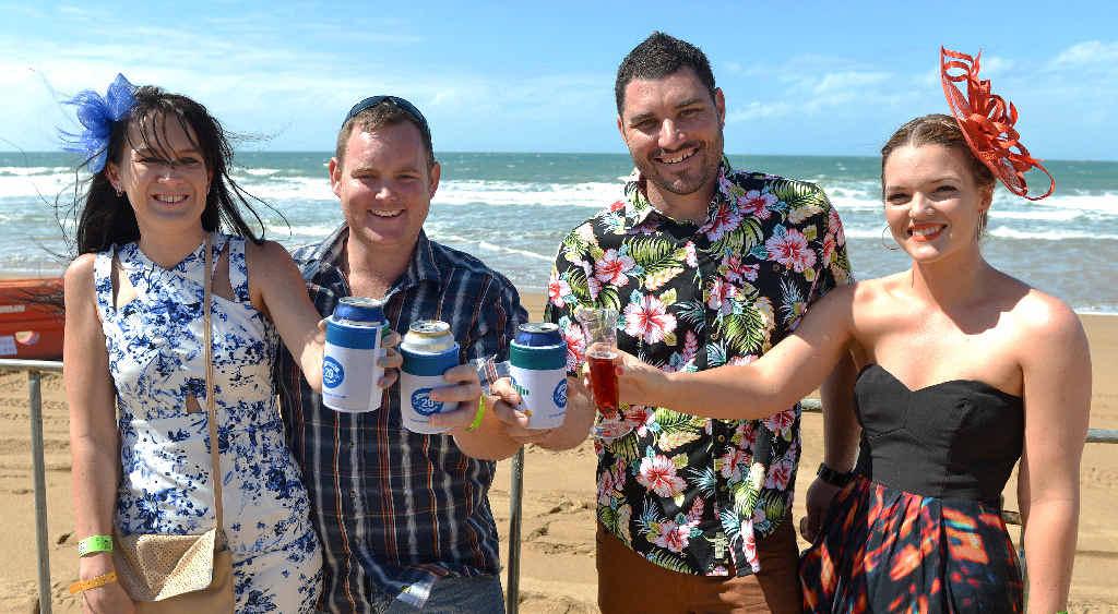 Sarah Casey (left), Matt Spillman, Leigh Bain and Allana Connolly toast the success of a day of sun, sand and racing.