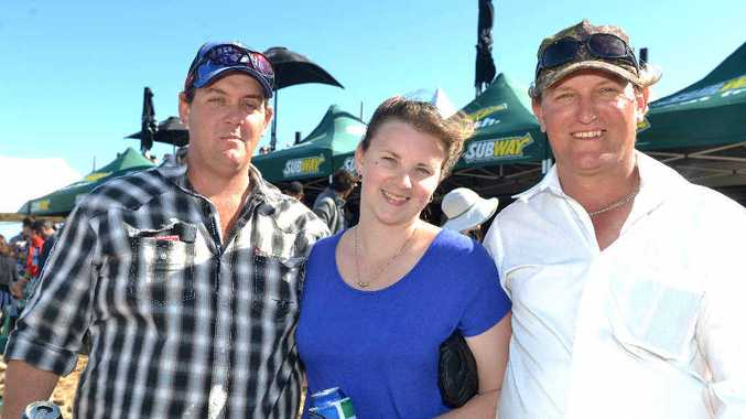 David Dunbavan, Alycia Wall and Kelvin Jeffs enjoyed the laid back atmosphere of the beach race day.