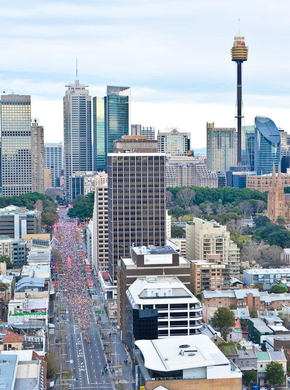 As many as 85,000 runners take part in this year's City2Surf on August 10 2014, pictured on William Street. The famous fun run between the CBD and Bondi Beach raised over $4 million for charity.