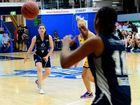 Alexandra Brady passes to Chandrea Jones. QBL Frenchville Cyclones vs South West Metro Pirates. Womens Basketball. Photo Sharyn O'Neill / The Morning Bulletin