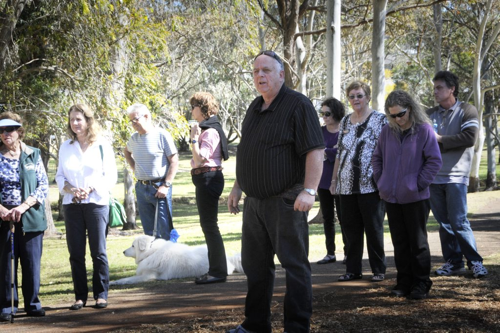 Council commences moving equipment into Garnet Lehman Park ready for work on detention basin. Protestors met them at the entrance.Toowoomba Alliance Group spokesman Rod May addresses the small crowd. Photo: Bev Lacey / The Chronicle