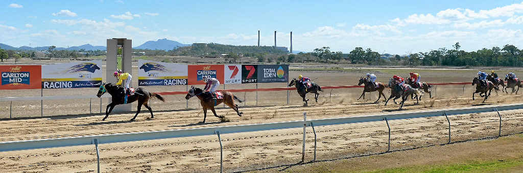 King Pem with jockey Adrian Coome wins the first race at Ferguson Park.