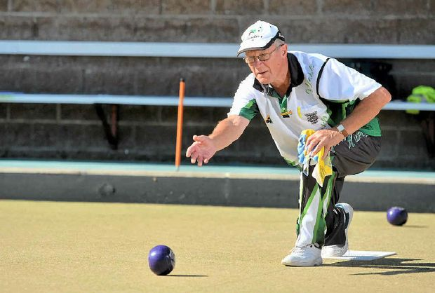 TIGHT SCHEDULE: Victorian man Frank Peniguel is trying to create a world record for the greatest number of lawn bowls clubs to be played by one person. He played at the Gladstone Bowls Club on Ferris St recently.