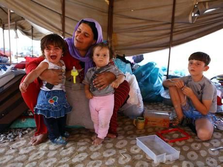 A refugee Yazidi family