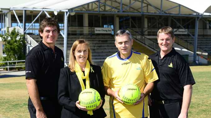 YELLOW HEARTS: Allison Baden-Clay's sister Vanessa Fowler and brother Ashley Dickie (in yellow jersey) are grateful for the Western Pride-hosted Yellow Hearts Day at Flinders View on Saturday. Pride general manager Pat Boyle (left) and financial controller Trevor Murphy are part of the regional club keen to support Allison's children. David Nielsen
