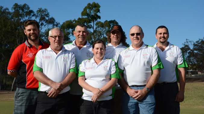 Peter Reardon, Jill Maynard, Lindsay Murray, (back) Phil Wogandt, Craig Olive, William Thumpkin and Dennis Walters all won prizes in the gross competition at the QRI State Championships.