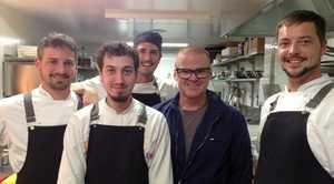 FAN BOYS: From left, Ciccetti head chef Enrico Semenzato, Marco Zorzi, Claudio Saini, and (right) sous chef Carlo Magnabosco with celebrated chef Heston Blumenthal (second from right).