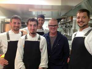 FAN BOYS: From left, Ciccetti head chef Enrico Semenzato, Marco Zorzi, Claudio Saini, and (right) sous chef Carlo Magnabosco with celebrated chef Heston Blumenthal (second from right).