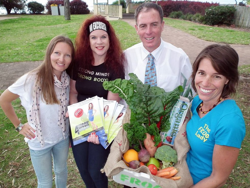 Health professionals nutritionist Honor Tremain, personal trainer Jeanette Maynes Celine Louie of The Frog Shop meet with Fraser Coast Mayor Gerard O'Connell to discuss healthy alternatives.