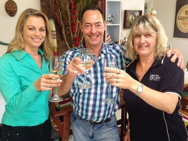 CELEBRATIONS: Gary De Bruyn who won $100,000 on Sunrise yesterday with his wife Maryanne (right) and Michelle Tapper from Channel 7.