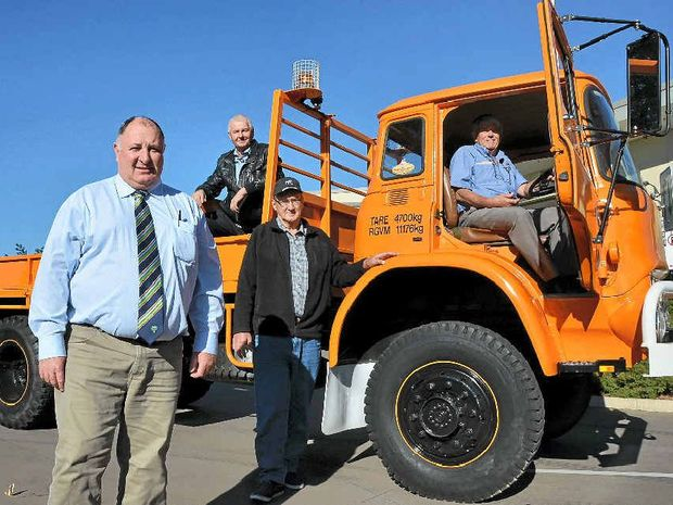 SHOW TRUCK: Lockyer Valley Mayor Steve Jones with Historic Commercial Vehicle Association of Queensland members Graham Kircher, Ian Pearse and Graham Bristow. Photo Carly Morrissey