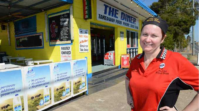READY TO SERVE: Rebekah McCrindle outside The Old Miners Diner in Ebbw Vale .