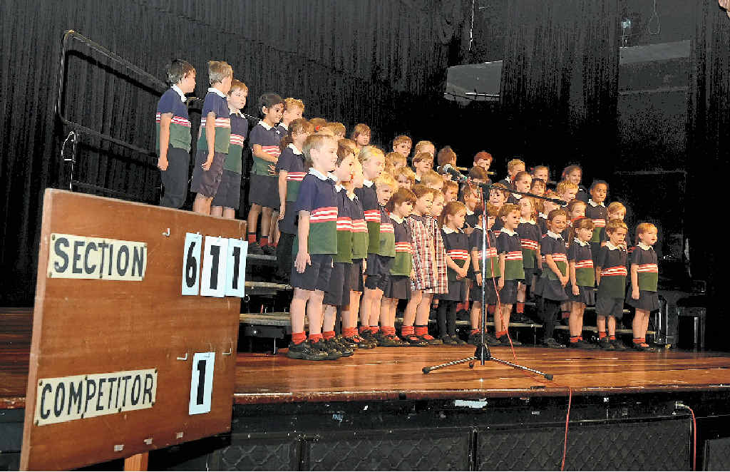 IN FINE VOICE: Year 1, Holy Family Catholic Primary, Skennars Head, participating in the Lismore Music Festival Society, in the Choir section. They sang 'Jesus loves me'.