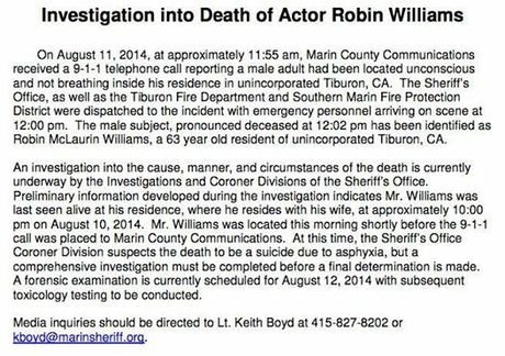Statement from the Marin Sheriff, released on August 12, 2014 regarding the death of Robin Williams
