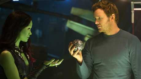 FOR REVIEW AND PREVIEW PURPOSES ONLY. Zoe Saldana and Chris Pratt in a scene from the movie Guardians Of The Galaxy. Supplied by Image.net. Please credit photo to Jay Maidment. Marvel 2014