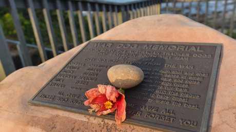 A flower on the War Dog Memorial at Alexandra Headland. Preview story for Vietnam Veterans Day. Photo: Brett Wortman / Sunshine Coast Daily