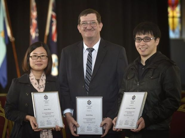 Toowoomba residents (from left) Susan Zhao, David King and Alex Liu were among those recognised at a police awards ceremony yesterday for helping the grief-stricken parents of a young couple who were killed in a Ruthven St crash on Australia Day.