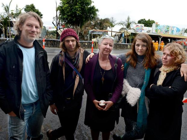 SHOW OF SUPPORT: Staff from the Rainbow Cafe woke to the news their workplace in Cullen St, Nimbin had been destroyed by fire. From left, business owner Jodee Tichborne, Freya Barber and Nicole Hills. Cathy Adams