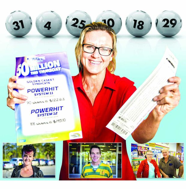 Gail Huth (main) will take a never ending holiday if she wins $50 million tonight, while Jo Black (left) will buy a house and a car, Alex Lindsay (centre) will give cash to people in need and Anne and Bill Foster will share the money with their family.