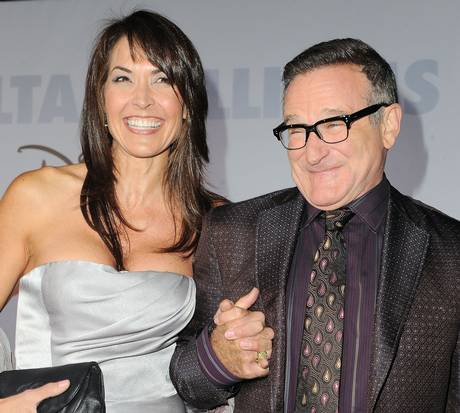 Robin Williams and his wife Susan Schneider at the premiere of