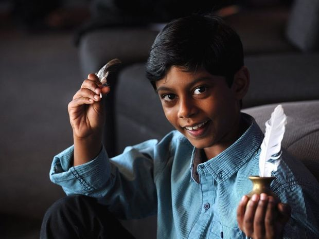 Harin Ravindran, 8, won first prize for Australian verse in the Maryborough Eisteddfod at the Brolga Theatre.