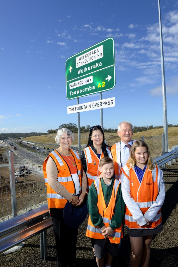 Relatives of Tom Fountain were in attendance at the official opening of the Tom Fountain overpass at Blacksoil on Thursday. (at back) Tom's daughter Fay Samson, granddaughter Leisa Skudder, son Graham Fountain and (front) Tom's great grandchildren Gabriel and Amelia Skudder. Photo: Rob Williams / The Queensland Times