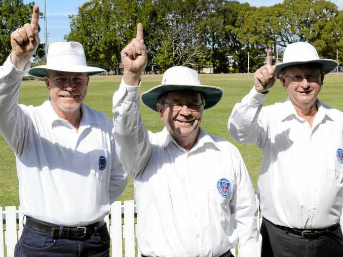 BE IN, NOT OUT: North Coast Cricket Umpires and Scorers Association members (from left) Rob Pye (Lower Clarence Cricket Association), Terry Brien and Jeff Hackett (both Clarence River Cricket Association). PHOTO: MATTHEW MCINERNEY