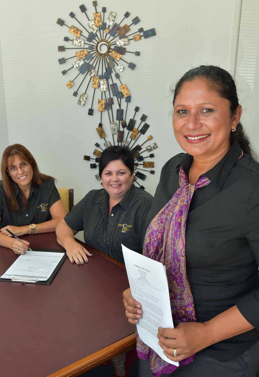 READY TO WORK: Jobseeker Sylvia Tiffany, with Rose Rixon (left) and Michalle Faulkner from East Coast HR.