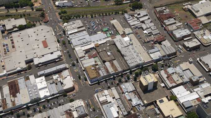 Aerial photograph of Toowoomba CBD, showing intersection of Margaret and Ruthven Sts, Thursday, January 05, 2012. Photo Kevin Farmer / The Chronicle Helicopter services courtesy of Heliwest Group