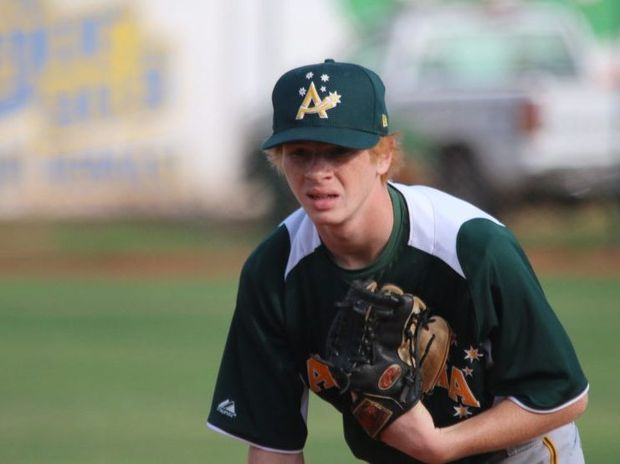 Lismore's Kodey Wilford in action at the International Baseball Federation 15U (under-15) Baseball World Cup in Sinaloa, Mexico.