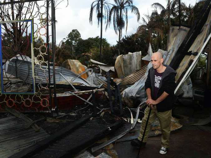 Rural Fire Service volunteer, Max Pike, battled the fire in Nimbin, with a broken ankle.