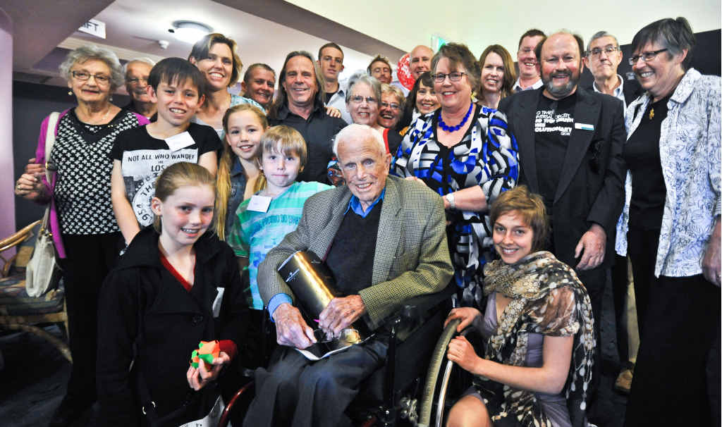 CENTENARIAN: Revered war veteran Bob Wood with family and friends at his 100th birthday celebration.