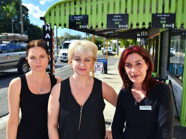 UNKIND CUT: iiCuts owner Donnalea Myers (right) with Jasmine Nunn and Newmone Marseilles, outside their salon on Blackall Tce, Nambour.