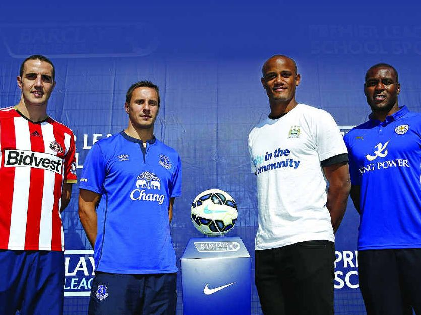 John O'Shea (Sunderland), Phil Jagielka (Everton), Vincent Kompany (Manchester City) and Wes Morgan (Leicester City) during the EPL season launch in London yesterday.
