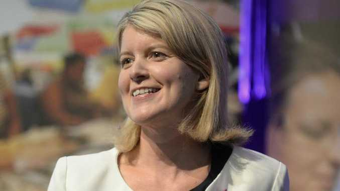 Australia's ambassador for Women and Girls, Natasha Stott Despoja, participates in a discussion panel during the International Women's Day lunch in Canberra, Friday, March 7, 2014.