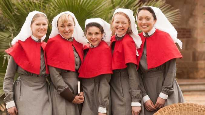 Laura Brent, Caroline Craig, Georgia Flood, Anna McGahan and Antonia Prebble in Anzac Girls. Photo by Matt Nettheim