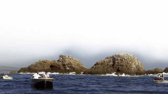 PRECIOUS: Fishermen at Julian Rocks prior to the establishment of the marine park.