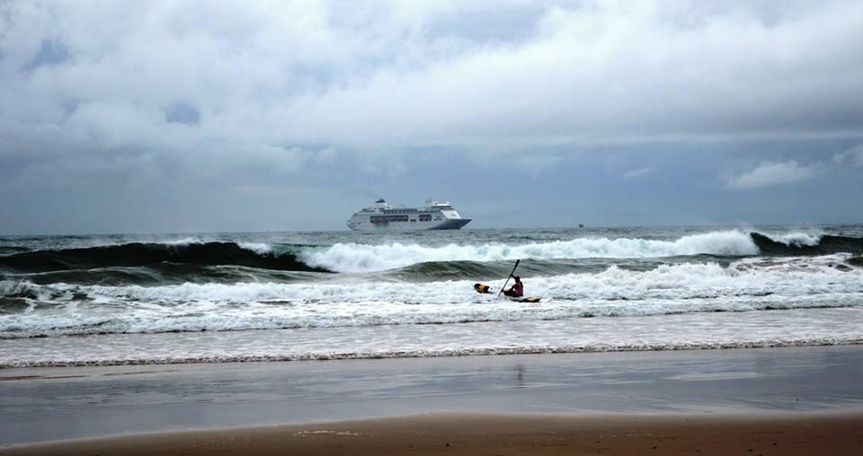 The P&O; Pacific Pearl cruise ship off Mooloolaba earlier today. Photo: Karen Simpson via Sunshine Coast Daily Facebook.