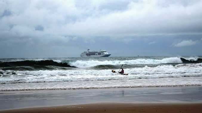 The P&O; Pacific Pearl cruise ship off Mooloolaba earlier today. Photo: Karen Simpson via Sunshine Coast Daily Facebook.