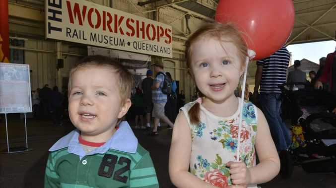 Ethan Freebairn, 2 and Aurora Freebairn, 3, at Ipswich Open Day at the Workshops Rail museum. Photo Inga Williams / The Queensland Times