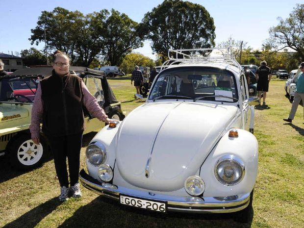 Judy Andrews with her original 1973 Super Bug Volkswagen Beetle.